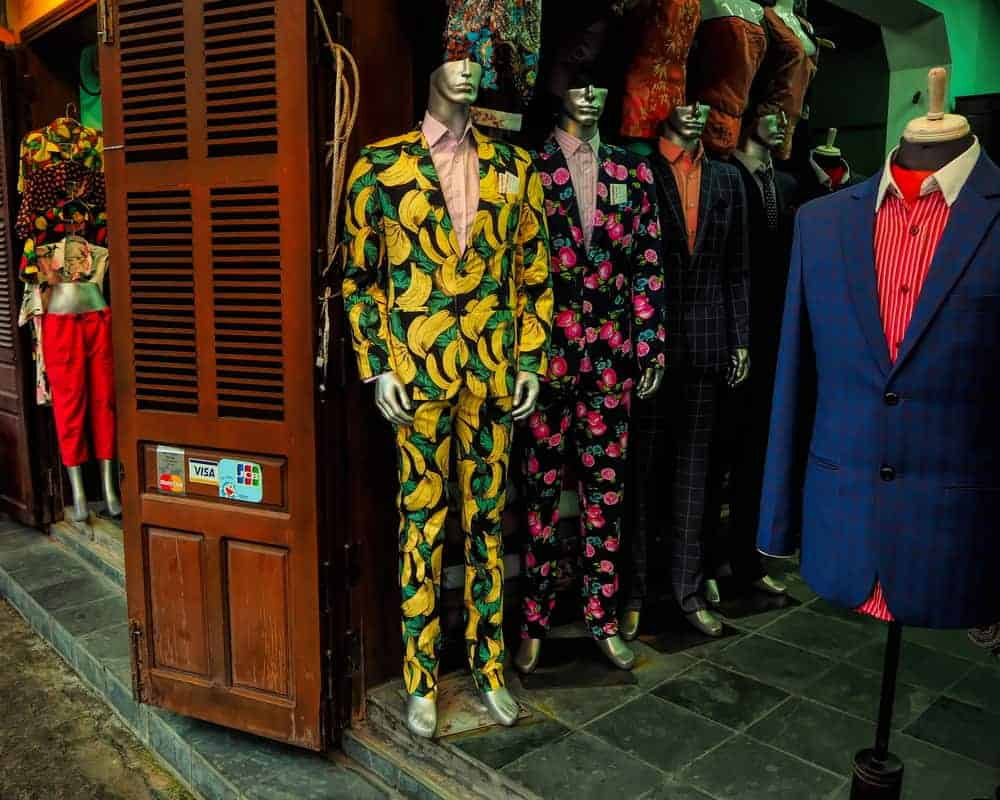 Funny suits in a small store, Hoi An, Vietnam
