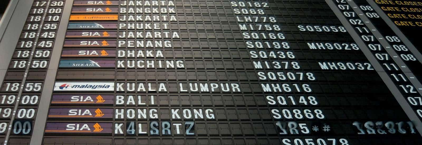 Destination Board at Airport