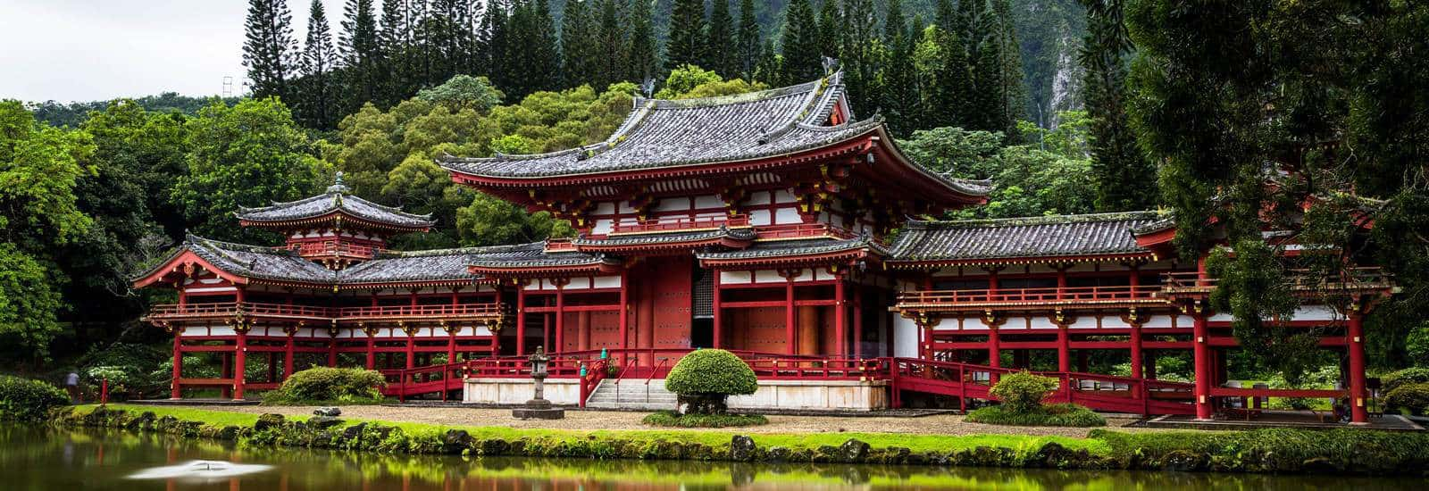 Chinese palace on a rivers edge