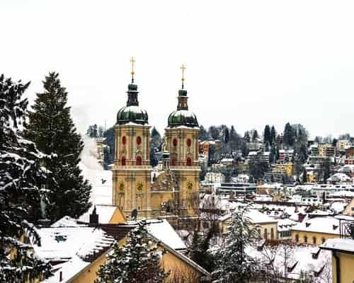 Covered in snow Cathedral in St Gallen, Switzerland- Ultimate Switzerland Travel Guide