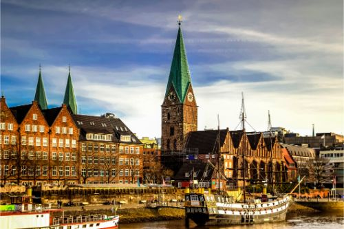 Bremen waterfront, Germany. Faith, sightseeing.