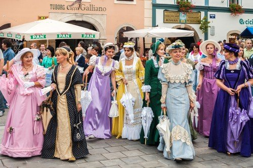 Costumed entertainers on the streets of Varazdin during the Spancirfest festival.
