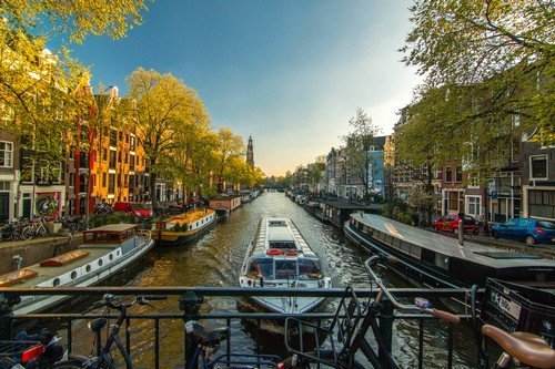 Tour boat in the Amsterdam Canals