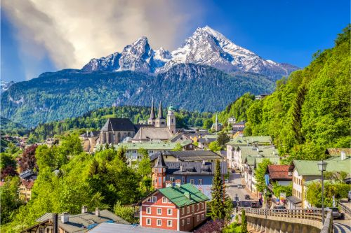 Historic town of Berchtesgaden with Watzmann mountain in spring, Berchtesgadener Land, Upper Bavaria, Germany. - Germany Regional Travel Guide