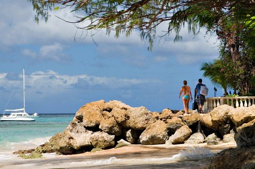 Beautiful Beach in Barbados, Caribbeans. white sand and blue water - budget Barbados travel guide