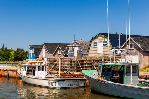 Fishing boats docked near lobster traps shown on July 15, 2013 in Cavendish, Prince Edward Island, Canada