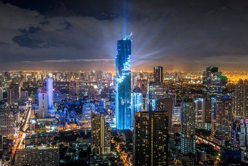 Celebration business buildings at Bangkok city with skyline at night, Thailand. - Ultimate Thailand Travel Guide