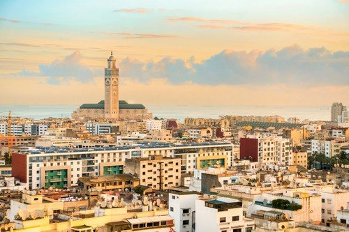 View over the city of Casablanca during Golden Hour in the early morning.