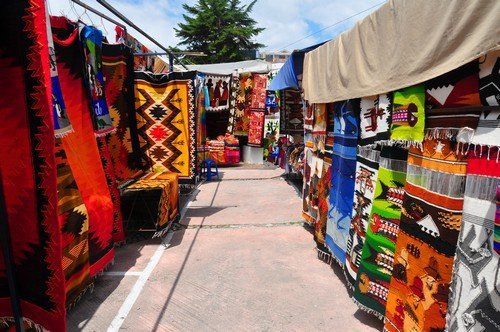View of stalls in traditional craft market, Ecuador