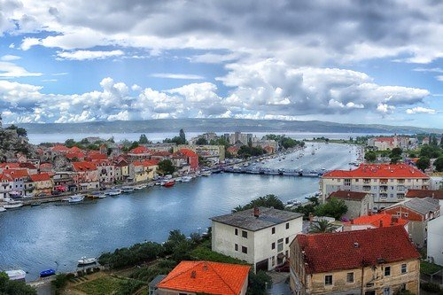 Croatia Waterway and Red Roofed Homes