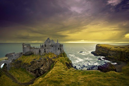 Fabulous ruins of Dunluce castle in Northern Ireland