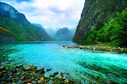 Fjord and river, Norway.