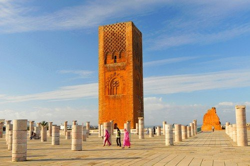 Hassan Tower near Mausoleum Mohammed V. in Rabat, Morocco. - ultimate morocco travel guide
