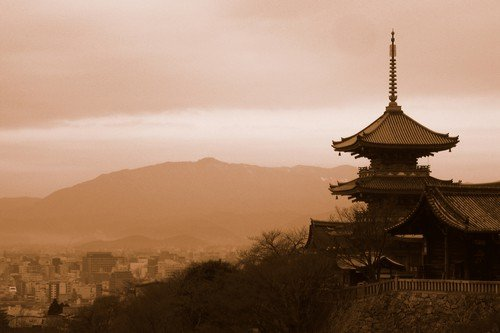 """Located on the hill of eastern Kyoto, Kiyomizu-dera (""""pure water temple"""") temple is one of the most popular temples in Kyoto and one of the World Heritage Sites since 1994. It was founded in 780 and remains associated with the Hosso sect, one of the oldest sects within Japanese Buddhism. This three stories pagoda belonging to the temple and overlooking Kyoto is one of the most representative images of Kyoto."""