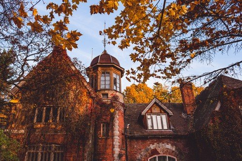 Manor house with trees in autumn colors and fall trees