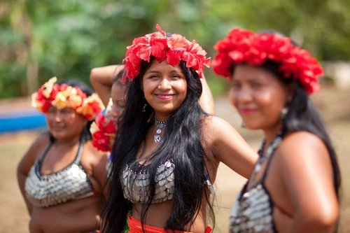 Native american girls and woman, Embera tribe.