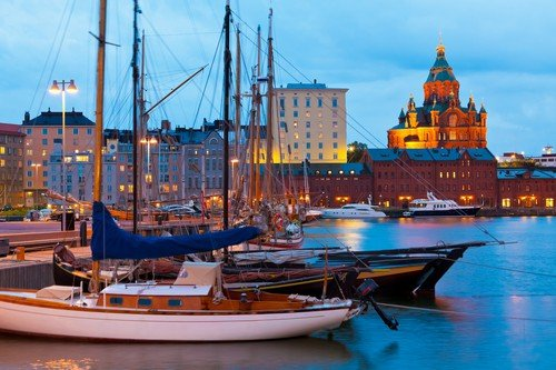 Evening scenery of the Old Port in Helsinki, Finland - ultimate finland travel guide