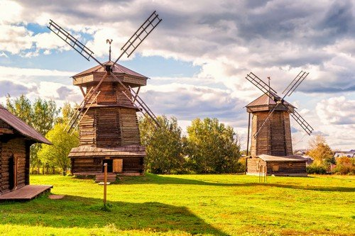 Old mills in ancient town of Suzdal. Golden Ring of Russia.