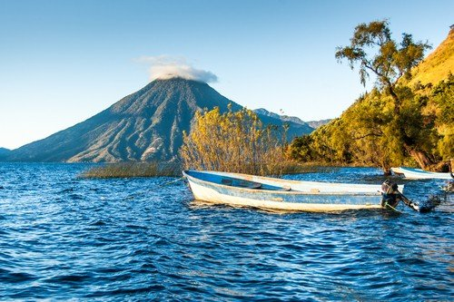 San Pedro Volcano on Lake Atitlan in Guatemalan highlands - guatemala travel guide