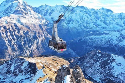 Scenic tramway in the Swiss Alps