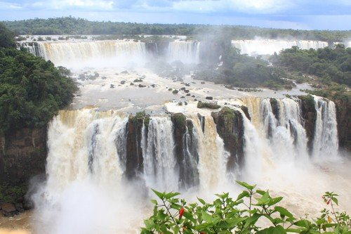 The Iguazu Falls, on the border of Argentina, Brazil, and Paraguay