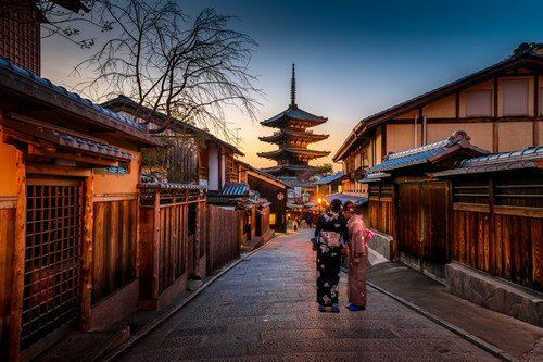 Kyoto, Japan street view with two women in traditional clothing ultimate japan travel guide