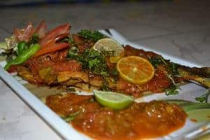 Baked Barramundi with Spicy Dressing