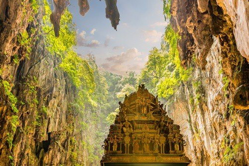 The Batu caves and the Hindu temple within in Malaysia.