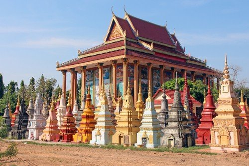 Colorful Buddhist cemetery next to a temple, Siem Reap,Cambodia