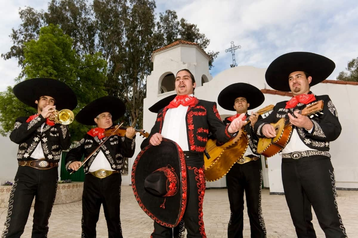 Mexican Mariachi Musicians in traditional costumes