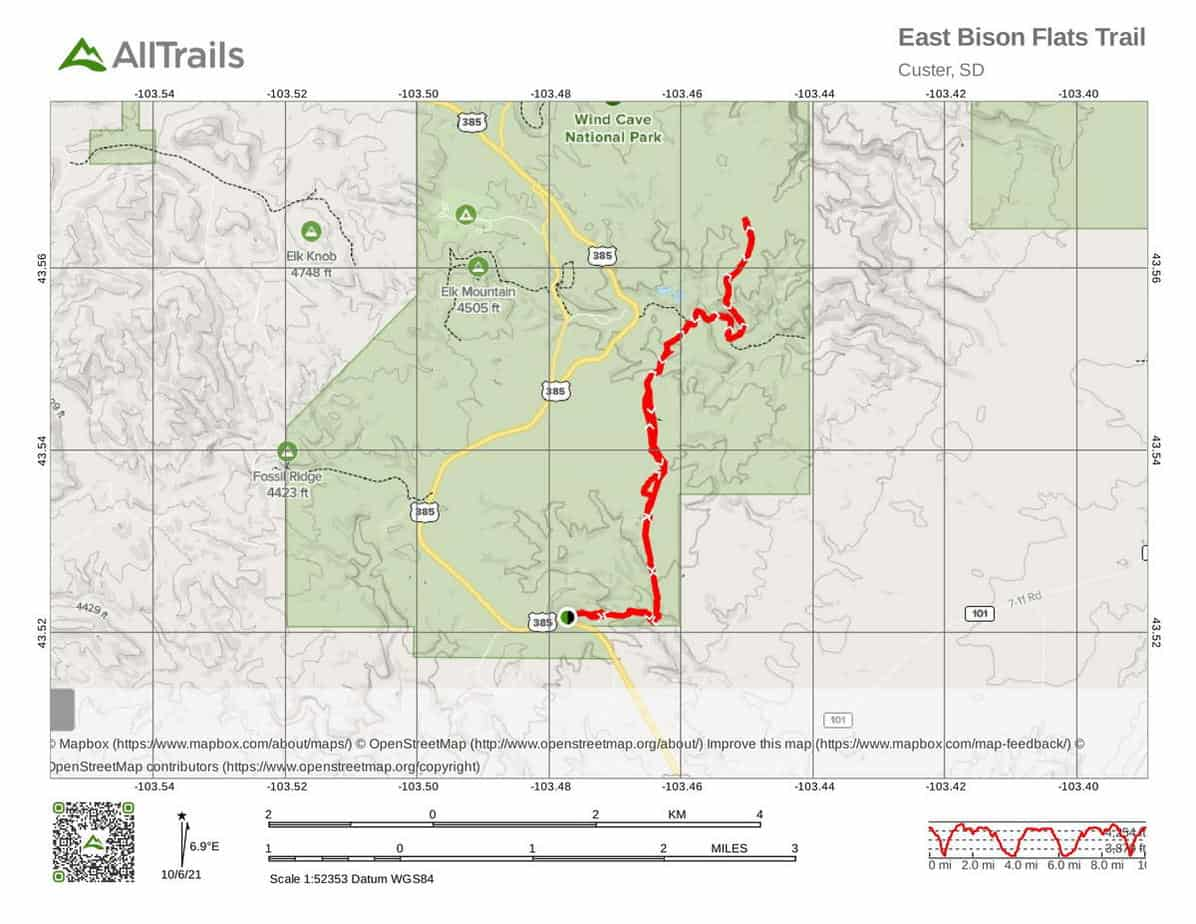 6. East Bison Flats Trail-1- Wind Cave National Park Free Boondocking